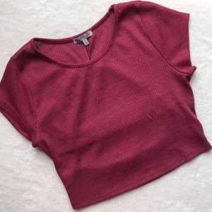 Charlotte Russe Ribbed Tshirt Cut Out Crop Top